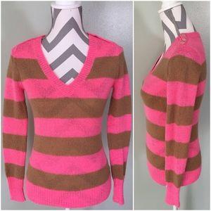 J. CREW Pink Striped Wool Blend V-Neck Sweater